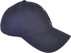 RIGHT FRONT VIEW OF CAP WITH EMBROIDERED LOGO