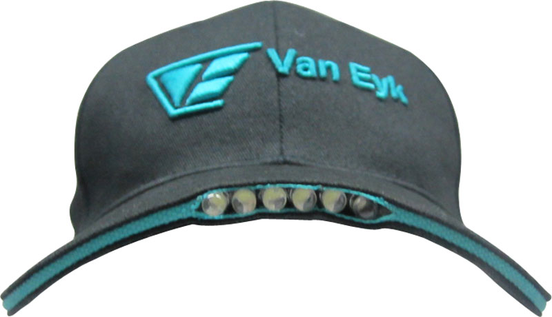 baseball hat led lights front view of cap off with in brim
