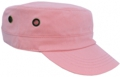 OFF THE SHELF LIGHTWEIGHT COTTON FABRIC MILITARY CAP WITH SIDE BREATHER EYELETS PASTEL PINK