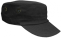 OFF THE SHELF LIGHTWEIGHT COTTON FABRIC MILITARY CAP WITH SIDE BREATHER EYELETS BLACK