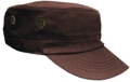 OFF THE SHELF LIGHTWEIGHT COTTON FABRIC MILITARY CAP WITH SIDE BREATHER EYELETS BROWN