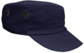 OFF THE SHELF LIGHTWEIGHT COTTON FABRIC MILITARY CAP WITH SIDE BREATHER EYELETS NAVY BLUE