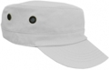 OFF THE SHELF LIGHTWEIGHT COTTON FABRIC MILITARY CAP WITH SIDE BREATHER EYELETS WHITE