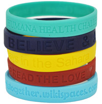 Custom de-bossed (text inwards) silicone bracelets. FACT: Lance Armstrong has raised over 9.5 million US$ for cancer research using this style