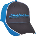 FRONT VIEW OF BASEBALL CAP AQUA AND CHARCOAL
