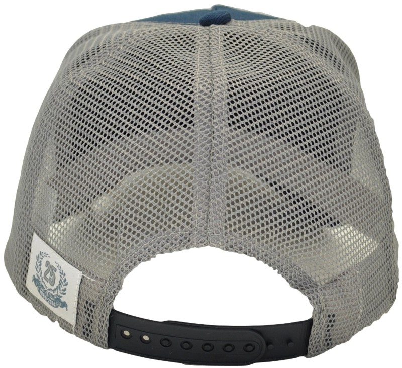 SNAPBACK TRUCKER HAT NAVY/GRAY MESH WITH WOVEN LABEL ON MESH