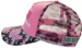 SNAPBACK TRUCKER CAP WITH ROUNDED SHAPE CROWN AND 2 DESIGN CAMOUFLAGE PRINT ON PEAK & MESH PINK/GREY/CHARCOAL