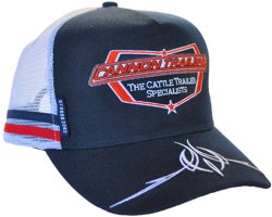 SNAPBACK TRUCKER HAT WE HAVE CUSTOMIZED FOR CANNON TRAILERS WITH PINSTRIPE EMBROIDERY ON THE PEAK AND THE PHONE NUMBER ON THE TAB
