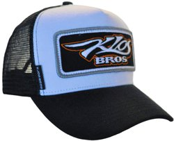 SNAPBACK TRUCKER HAT WE HAVE CUSTOMIZED FOR KLOS BROS CUSTOM TRUCKS WITH THE BIG CHUNKY SEW-ON BADGE AND WEB ADDRESS ON THE SIDE TAB