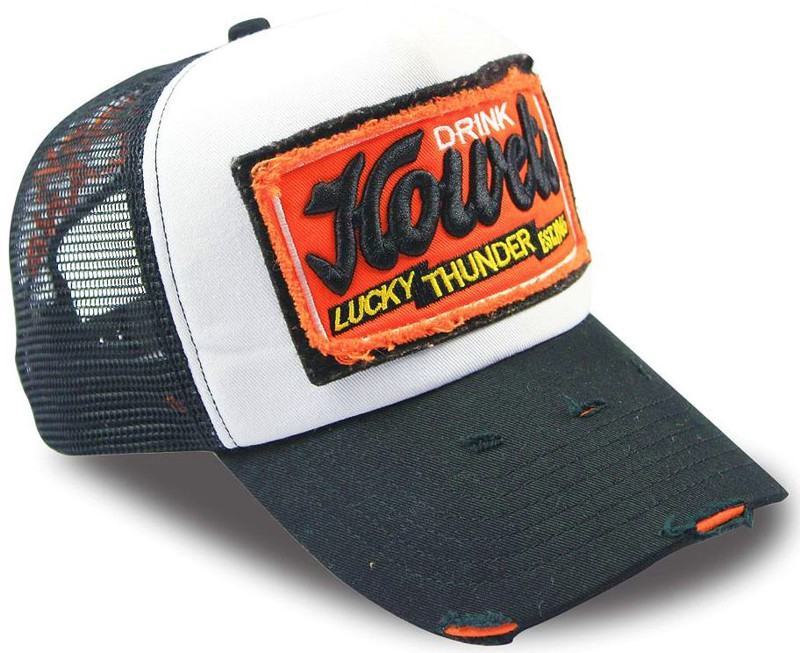 ... CUSTOM MAKE ACRYLIC SNAPBACK TRUCKER HATS WITH GRUNGE EFFECTS AND DOUBLE  FREYED SEW-ON BADGE ... 91e0f4adac6e