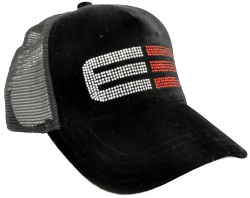CUSTOM MAKE BRUSHED VELVET TRUCKER HAT DECORATES WITH DIAMANTES