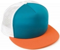 CUSTOM MAKE KNIT/FOAM/MESH FLATBRIM TRUCKER HAT, YOU CHOOSE YOUR DECORATION - AQUA/WHITE/ORANGE