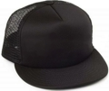 CUSTOM MAKE KNIT/FOAM/MESH FLAT BRIM TRUCKER HAT, YOU CHOOSE YOUR DECORATION black/black/black