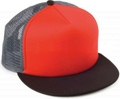 CUSTOM MAKE KNIT/FOAM/MESH FLAT BRIM TRUCKER HAT, YOU CHOOSE YOUR DECORATION red/charcoal/black