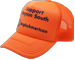 ORANGE TRUCKER HAT WITH CUSTOM DECORATION TO MATCH HI-VIS CLOTHING TO COMPLETE YOUR ONSITE UNIFORM
