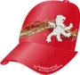 FABRIC/FOAM/MESH CUSTOM EBROIDERED CROWN/BRIM RED/RED